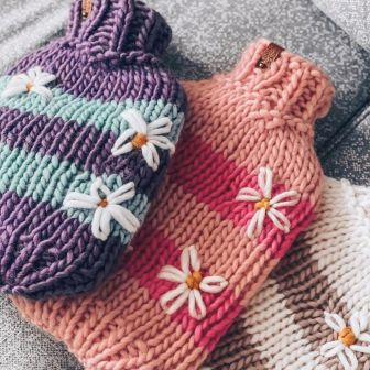 Chunky Knitted Hot Water Bottle Cover