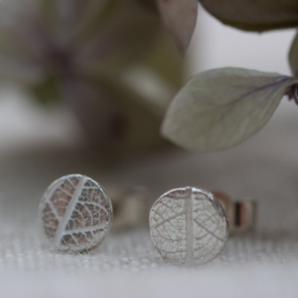 Recycled Silver Leaf Pattern Tiny Stud Earrings