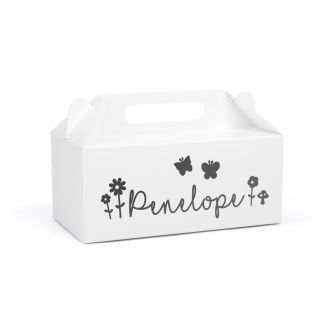 Large white gable gift box with penelope written on the side, also on the side is butterflies and flowers, all printed in black