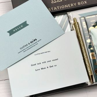 Green and Metallic Gold Stationery Set
