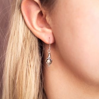 Small Silver Arum Lily Drop Earrings with Pearls