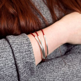 Red Real Leather Stacking Bracelet