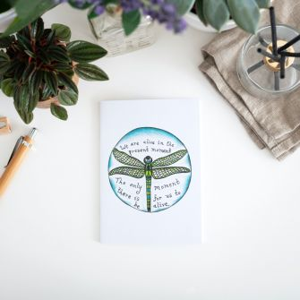 Dragonfly mindfulness quote notebook - recycled paper