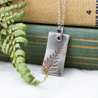 Recycled Silver Fern Pattern Rectangle Pendant