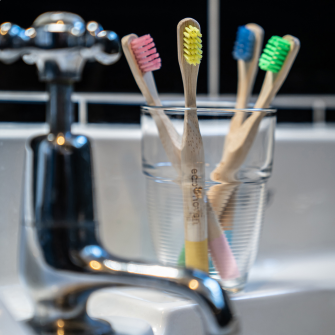 Kids Colourful Bamboo Toothbrushes, Family Pack of 4
