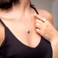 Medium Silver Arum Lily Pendant with Pearl