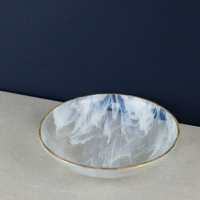 White Marble and Gold Bowl